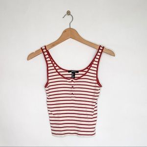FOREVER 21 Henley Crop Top w/ Red Stripes